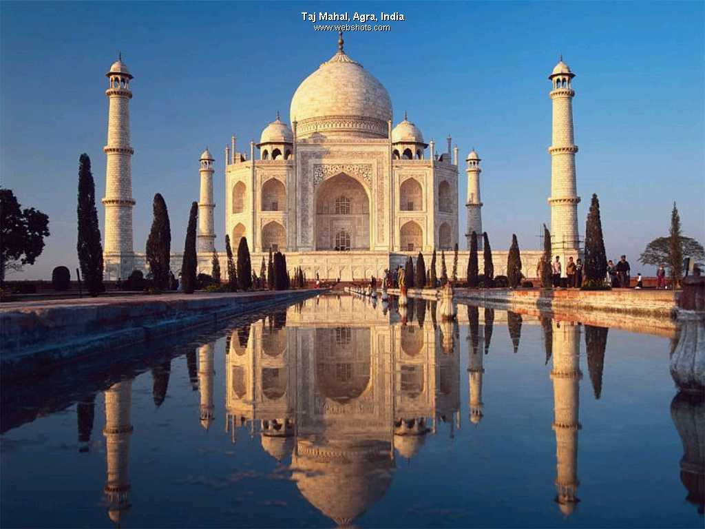 Taaj Mahal - Regarded as one of the eight wonders of the world, built by a Muslim, Emperor Shah Jahan (died 1666 C.E.) entirely of white marble.